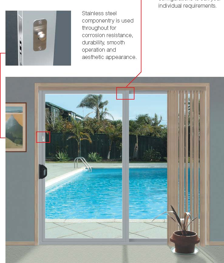 Stainless steel componentry is used throughout for for 1500mm patio doors